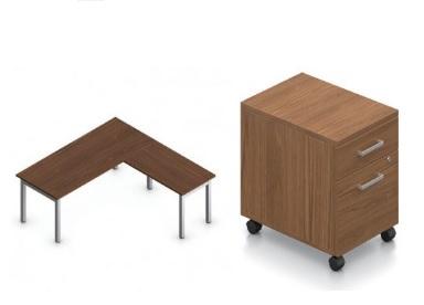 Global Ionic Table Desk And Return On Metal Legs Track