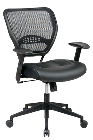 A black Office Star 5700 Chair tilted to the left for the camera.