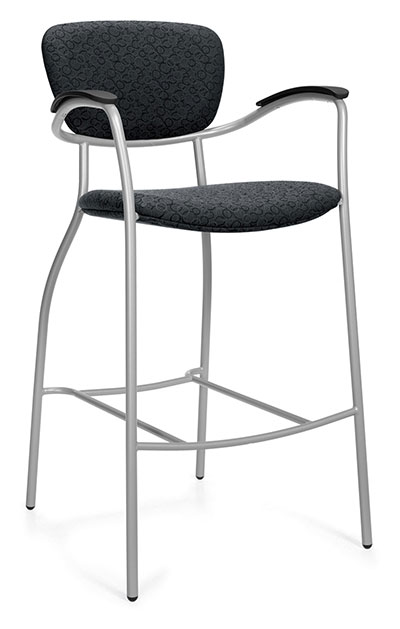 A black upholstered counter-height bar stool tilted to the right against a white background, with a high back and four metal legs.
