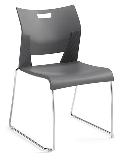 A stackable Global Duet chair made of black plastic and metal legs forming square shapes, tilted to the right.