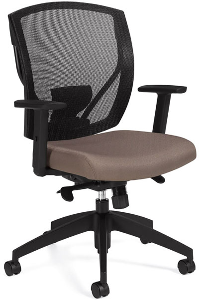 An Ibex Mesh Multi-Tilter Chair with a beige leather padded seat, black arm rests, and a black mesh back.