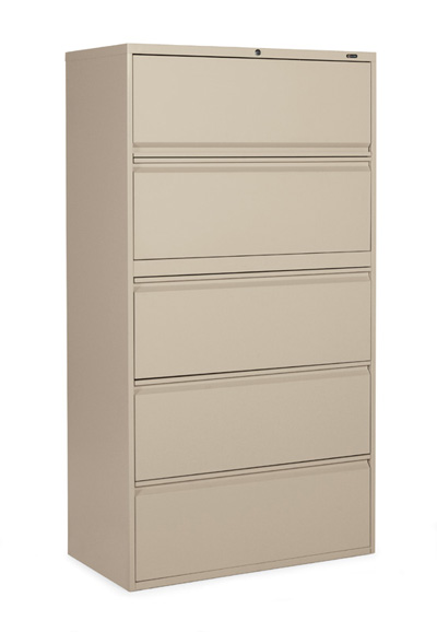 A beige 5-drawer file cabinet against a white background, turned slightly to the camera's left.