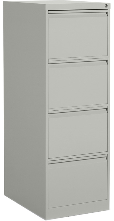 A 4-drawer vertical cabinet in grey turned slightly to the left against a white background.