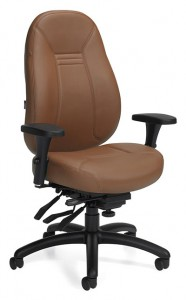 A brown leather Global Obusforme Comfort chair, tilted 45 degrees to the camera's right against a white background.