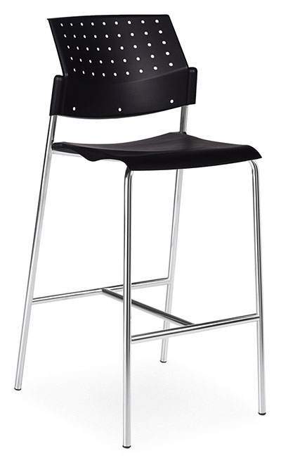 A black plastic bar stool without arms and a ventilated back, tilted to the right.