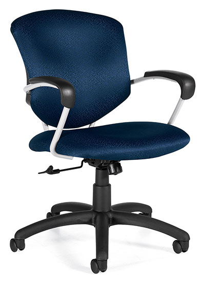 A blue upholstered Supra Chair with arm support and a height adjustor against a white background.