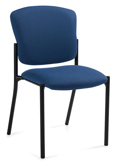 A blue upholstered stacking chair from Twilight, tilted at a 45 degree angle against a white background.
