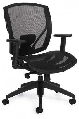 A black Global Ibex Chair tilted 45 degrees to the right against a white background.