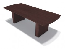 A brown laminate table for office work, captured at an upward angle on a white background and casting a shadow on the ground.
