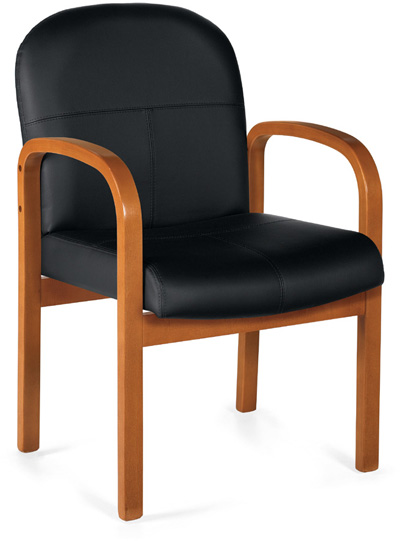 A black upholstered harvest chair with rounded arm rests that also become legs, tilted 45 degrees to the right against a white background.