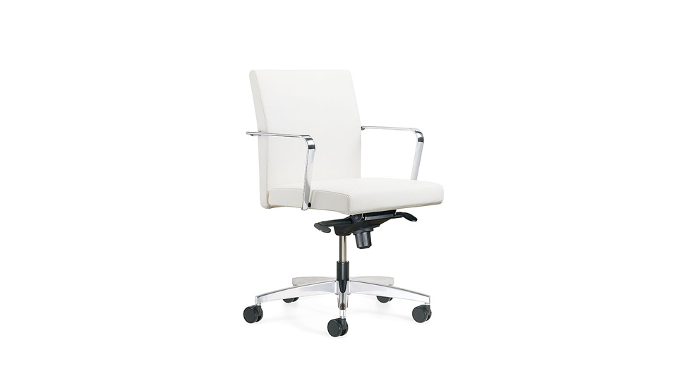 A white Keilhauer reeves chair pictured at a 45 degree angle from the camera against a white background.