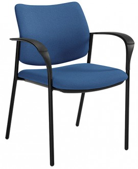 A dark blue Global Sidero Armchair, 6900 model, with fully upholstered seat and back, tilted to the right against a white background.
