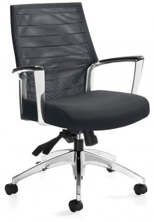 Global Accord Chair for Meetings in black shot at a 45 degree angle; the, 2677-4 model featuring a mesh medium back knee-tilter.