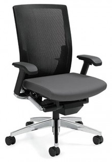 Global G20 Chair with high back mesh, lumbar support, and adjustable height, mostly black with chrome legs. Tilted at a 45 degree angle.
