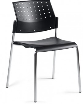 Global Sonic 6508WS, a cheap plastic stacking chair with a ventilated back rest.