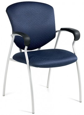 Global Supra 5332 guest chair with with blue upholstered seat and back, and a grey steel frame and plastic-covered arm rests for comfort. Tilted right against a white background.