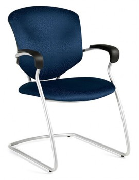 A Global Supra 5335 Cantilever armchair with a tungsten steel frame, tilted to the right of the camera.