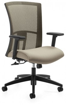 A beige Global Vion Chair, 6321-8 Mesh High Back with Sensing Synchro features against a white background.