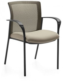 A beige Global Vion guest chair with a mesh back, flat metal arm rests, and 4 black metal legs, tilted to the right against a white background.
