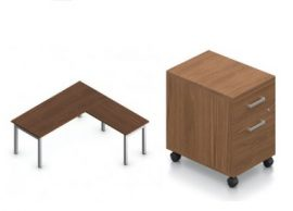 A brown l-shaped table desk with a companion storage unit on wheels with two drawers beside it.